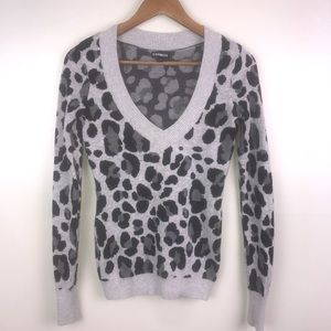 EXPRESS V-Neck Animal Print Long Sleeve Sweater
